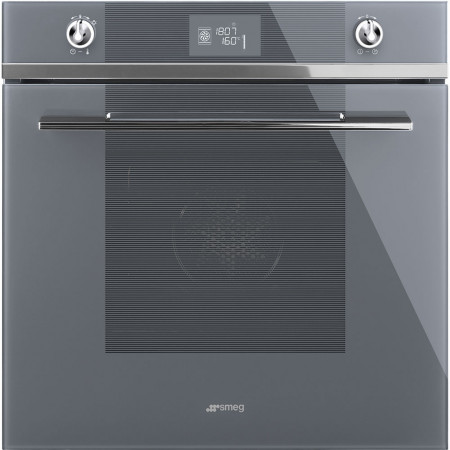 Smeg SF6102TVSG 60cm Silver Glass `Linea` Single Built in Multifunction Electric Oven with Vapour Clean Function