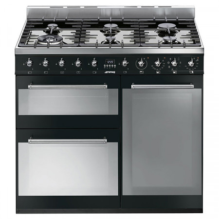 Smeg SY93BL Black & Stainless Steel 90cm Symphony Dual Fuel 3 Cavity Cooker with Gas Hob