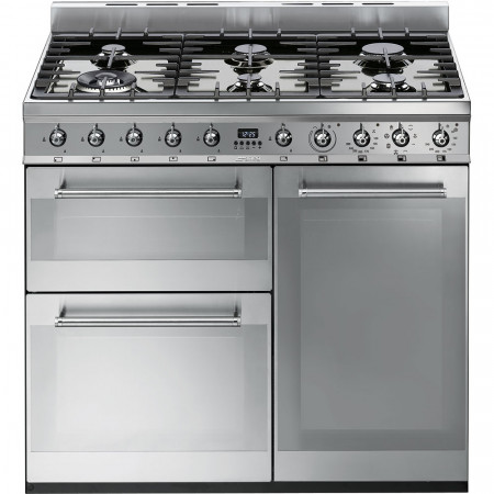 Smeg SY93 90cm Stainless Steel Symphony Dual Fuel Range Cooker