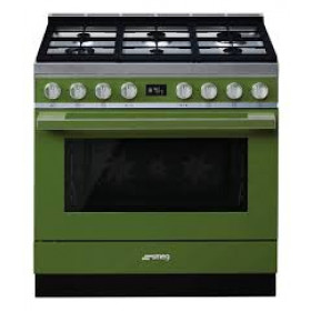"Graded Smeg CPF9IP 90cm ""Portofino"" Green Dual Fuel Range Cooker (JUB-20705)"
