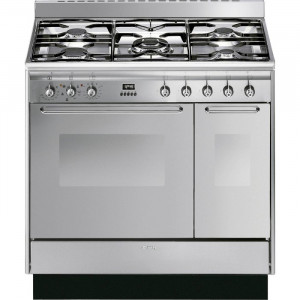 Smeg CC92MX9 90cm Stainless Steel Cucina Dual Fuel Range Cooker with Double Oven and Gas Hob