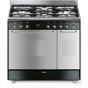 Graded Smeg CG92NG 90cm Dual Fuel Black And Stainless Steel Range Cooker (JUB-24027)