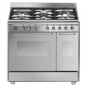 Smeg CG92PX9 90cm Stainless Steel Freestanding Pyrolytic Dual Fuel Range Cooker