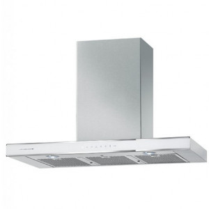 De Dietrich DHD1129W 90cm Glass and Stainless Steel White Pearl Decorative Cooker Hood
