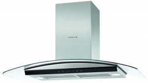 De Dietrich DHD1577X 90cm Stainless Steel and Glass Decorative Curved Chimney Hood