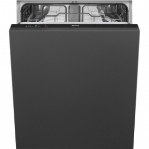 Smeg DI612E 60cm Full-size 5 Programmes 12 Settings 48db Integrated Dishwasher with Black Control Panel