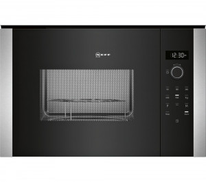 Graded Neff HLAGD53N0B 60cm Black Built-in Microwave with Grill