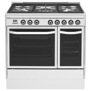 Smeg John Lewis JLRC921 90cm Stainless Steel Dual Fuel Twin Oven Range Cooker