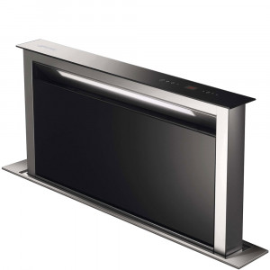 Smeg KDD90VXE-2 90cm Black Glass and Stainless Steel Island Downdraft Extractor Hood