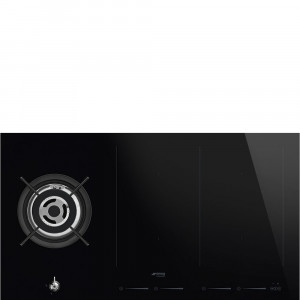 Smeg PM3912WLD 90cm Classic Black Glass Mixed Fuel Hob 1 Gas Burner 2 Induction Multizones with Straight Edge