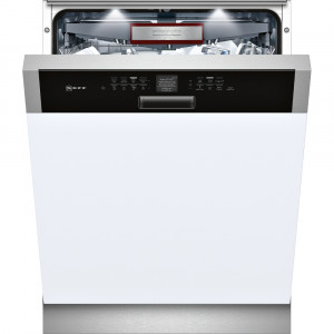 NEFF S416T80S0G 60cm Built in Semi Integrated Dishwasher with Black Control Panel
