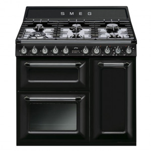 Smeg TR93BL Black 90cm Traditional Victoria Range Cooker with Single Oven