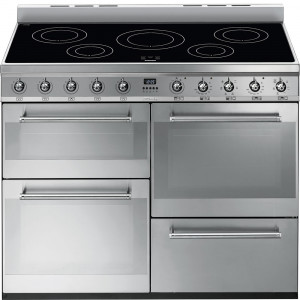 Smeg SYD4110I 110cm Symphony Stainless Steel Dual Fuel 4 Cavity Cooker with 2 Side Opening Oven Doors & Induction Hob