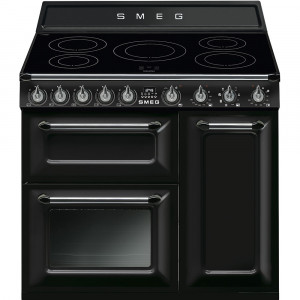 "Smeg TR93IBL 90cm ""Victoria"" Black Traditional 3 Cavity Range Cooker with Induction Hob"