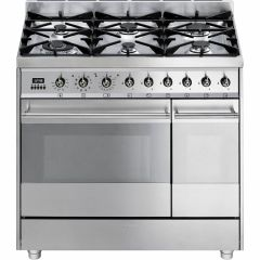Graded Smeg SY92PX8 90cm Stainless Steel Dual Fuel Range Cooker (JUB-1161)