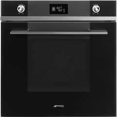 Graded Smeg SFP6102TVN 60cm Linea Black Glass Multifunction Single Oven (JUB-1343)