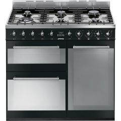 Graded Smeg SY93BL 90cm Black and Stainless Steel Symphony Range Cooker (JUB-1174)