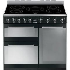 Graded Smeg SY93IBL 90cm 'Symphony' Black Range Cooker with Induction Hob (JUB-1515)